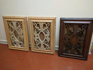 3 gorgeous carved wooden furniture cabinet doors
