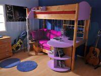 Bunk Bed - Stompa Casa High Sleeper with Futon, Desk and Bookshelf