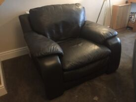 2 Seater and 1 Seater Brown Leather suite, excellent condition.