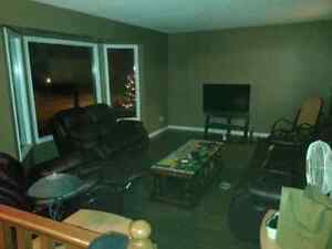 3 piece leather reclining living room set Strathcona County Edmonton Area image 1
