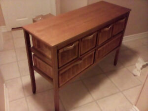 Solid wood table with many drawers