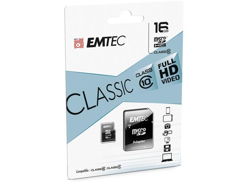 16 GB Micro SDHC Speicherkarte mit SD-Adapter Emtec Classic Class 10 Full HD