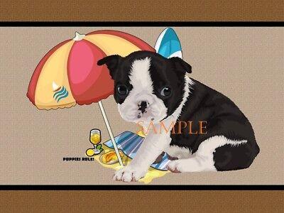 Puppies Rule Boston Terrier Dog Beach Buddy House Decor Door Mat Floor Rug (Boston Terrier Door Mat)