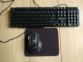 Keyboard, mouse and mat