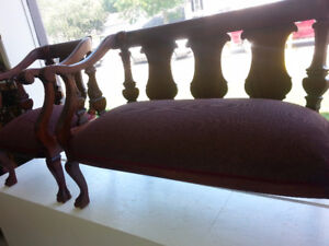 RE-UPHOLSTERED ANTIQUE SETTEE SET