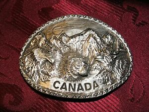 Sliver Tone Canada with 3 Animal Heads Belt Buckle - 1997