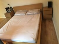 King size bed frame with bed side drawers included