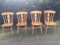 4 SOLID WOOD FARMHOUSE CHAIRS