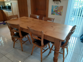 Oak farmhouse table and chairs