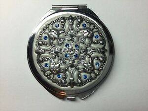 Silver Compact Mirror with Swarovski Crystals - Hand Embellished Windsor Region Ontario image 1