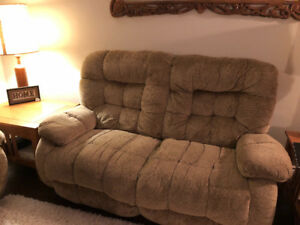 Reclining couch love seat and large chair