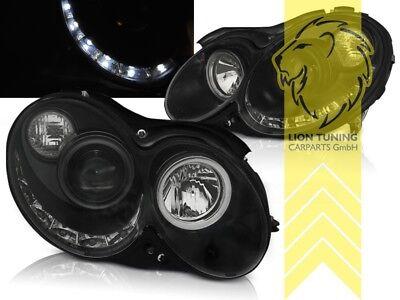 LED Tagfahrlicht Optik Scheinwerfer für Mercedes Benz CLK C209 Coupe Cab schwarz