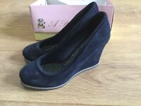 Boxed White Stuff navy suede wedge heels, size 8