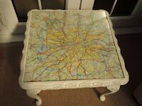 Coffee table with map of M25