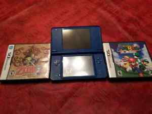 Nintendo dsi XL blue with Mario ds 64 and zelda ds phantom