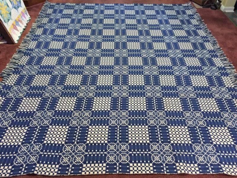 Vintage Wool/Cotton Triple Blue Off White Jacguard Coverlet Wales