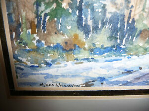 "Myrna Wilkinson ""Winter Shadows"" Original Small Watercolor Stratford Kitchener Area image 5"