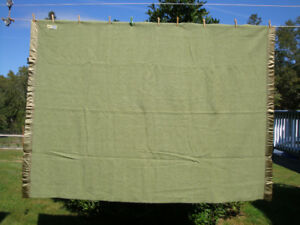 100% Thick Wool Blanket Kenwood 64 x 89 inch Green In Color