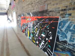 HALF PRICE!!! Hand Painted Toronto Skyline Canvas