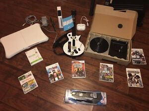 Wii console bundle, guitar, DJ, fit, other games
