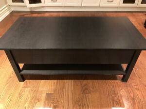 Ikea Dark Brown Coffee Table with Leaf Expansion For Sale