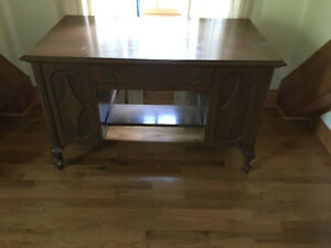 Unique antique two sided desk with built in shelves - see pics!
