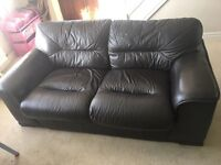 3 seater and 2 seater leather sofas in brown