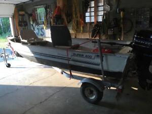 14ft Aluminum boat trailer & motor for sale