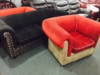 As new chesterfield 2 and 1 fabric sofa set