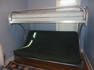 Metal Bunk Bed - Single over Futon