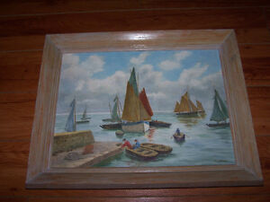 NICE..Original Painting BOATS LAKE Off The Coast Of Brittany