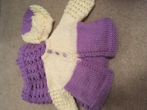 Handmade baby blanket and sweater with hat