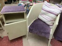 Lloyd loom** vintage bedroom chair & bedside cabinet**