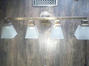 33' four light solid bronze bathroom light w/ ceiling light