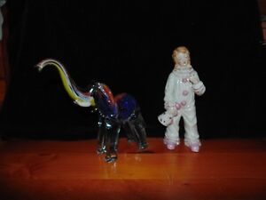Colourful Glass Elephant and Ceramic Clown