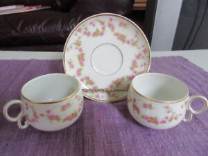 2 Limoges Cup and Saucers - Bridal Rose   So Pretty