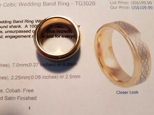 gold plated tungsten carbide celtic wedding band ring