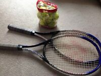 Tennis rackets and a full bag of tennis balls for $30