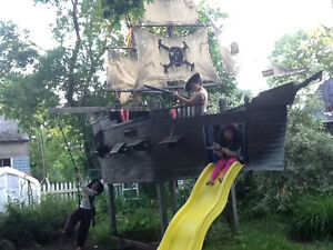 Big pirate ship,boat,playground,play park,slide,toy,treehouse