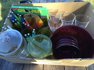Box full of NEW  PLASTIC Dishes and Utensils