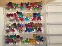 100 pieces craft sparkly embellishments stars shapes mini Mickey Mouse style in lots of colours