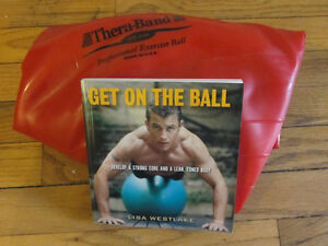 "Exercise ball, book ""Get on the Ball"" + yoga block"
