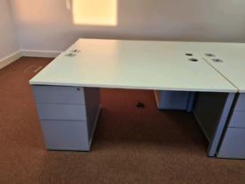 White office desks with pedestal