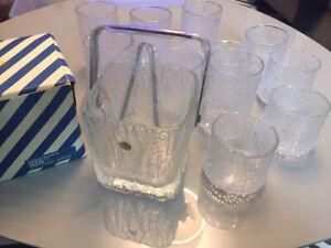 Vintage HOYA Textured Glass Glacier Crystal Ice Bucket, BAR SET