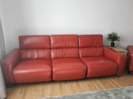 Red leather sofa with electric recliners and built in usb ports