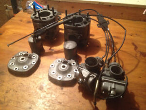 kawasaki invader 340 heads,cylinders, carbs , can fit  440 crank