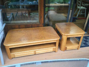 4 piece solid wood coffee, end table set