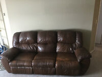 Leather couch and lazy boy chair