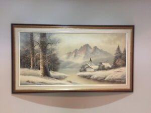 Wall Paintings for sale. Canvas framed House Landscape Forest
