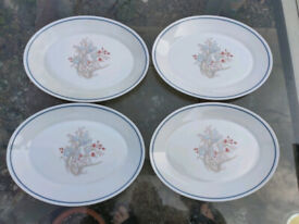 4 X Pyrex Blue Iris Oval Steak Plates
